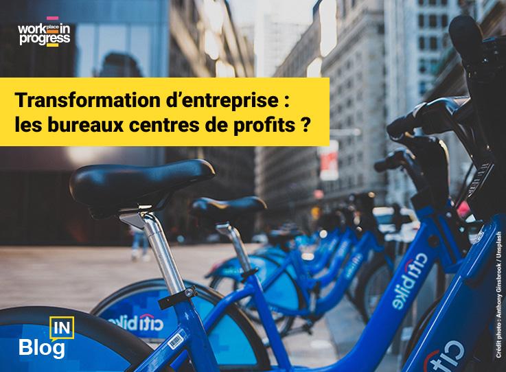 Vélos en libre-service illustrant l'économie du partage et l'article de blog workINprogress « Transformation d'entreprise : les bureaux centres de profits ? »