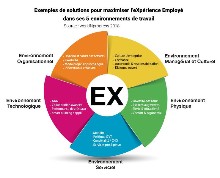 L'eXpérience Employé s'organise autour de points de contact entre l'employé et l'entreprise dans 5 types d'environnements : organisationnel, managérial et culturel, physique, serviciel et technologique