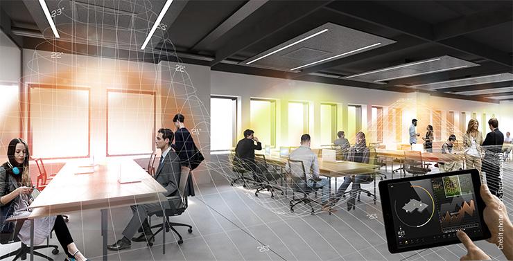 Les bulles personnelles de l'espace de coworking de la Fondation Agnelli à Turin qui reconnait automatiquement les préférences de luminosité et de température de chacun